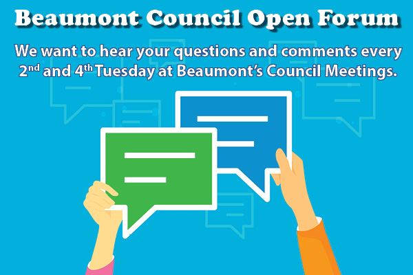 Beaumont Council Open Forum