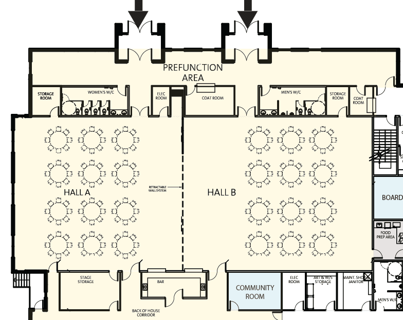 Beaumont Community Centre - Hall A-B-Banquet Area Map